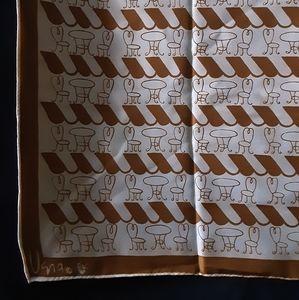 1960's Vera Neumann ladybug scarf w/ French cafés